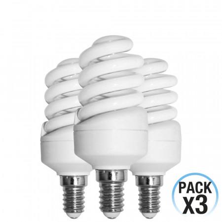 Pack 3 Bombillas CFL Bajo Consumo Mini Espiral E14 15W