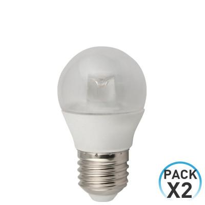 Pack 2 Bombillas LED Esférica E27 6W 25000h