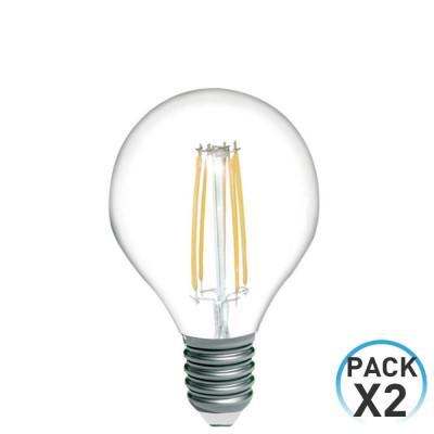 Pack 2 Bombillas LED Filamento Esférica E14 4W Equi.40W 470lm 15000H