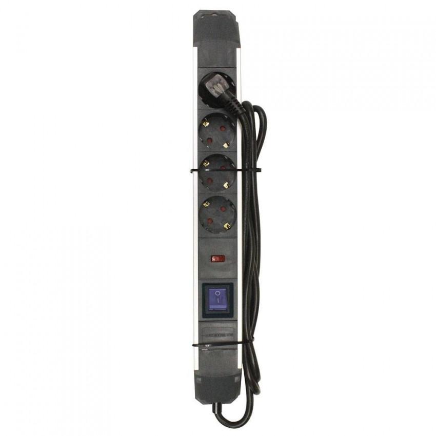 Regleta 4 Enchufes Schuko 2m Negro con Interruptor Azul y Protección Sobretensión 7hSevenOn Elec