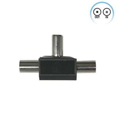 Conector Inductivo para TV T 1 Macho/2 Hembras Negro 7hSevenOn Elec
