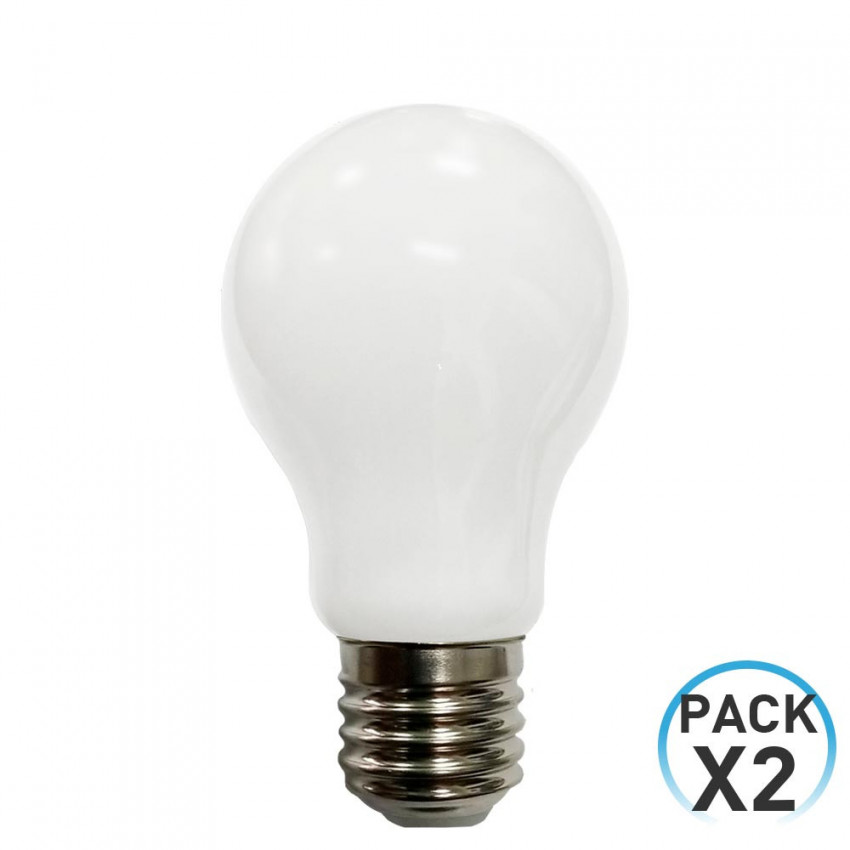 Pack 2 Bombillas LED Filamento Milky Estándar E27 8W Equi.60W 806lm 4000K 15000H 7hSevenOn