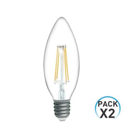 Pack 2 Bombillas LED Filamento Vela E14 4W Equi.40W 470lm 2700K 15000H 1Primer Low Cost