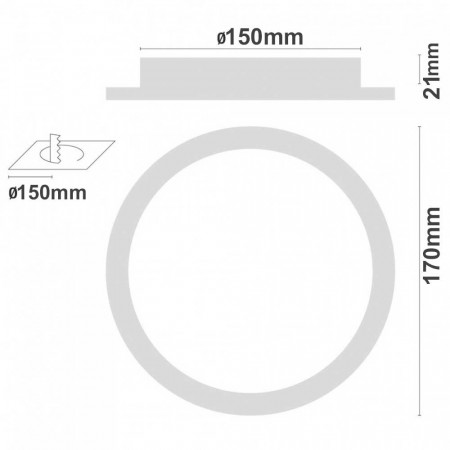 Downlight LED Ultraslim Empotrable Redondo 12W 960lm Ø15cm 6000K Blanco Eilen