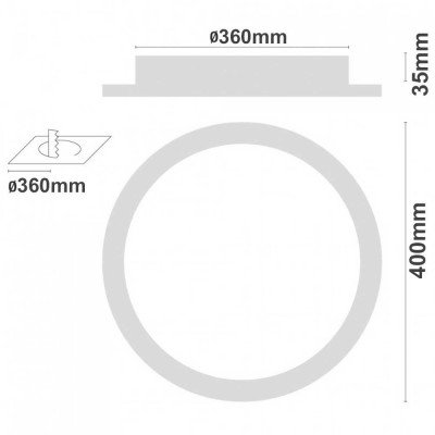 Downlight LED Superficie Redondo 24W 2100lm Ø40cm 4000K Blanco 7hSevenOn Deco