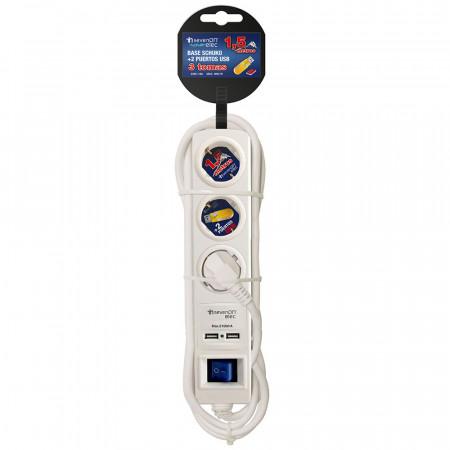 Regleta 3 Enchufes Schuko y 2 USB 1,5m Blanco con Interruptor Azul 7hSevenOn Elec