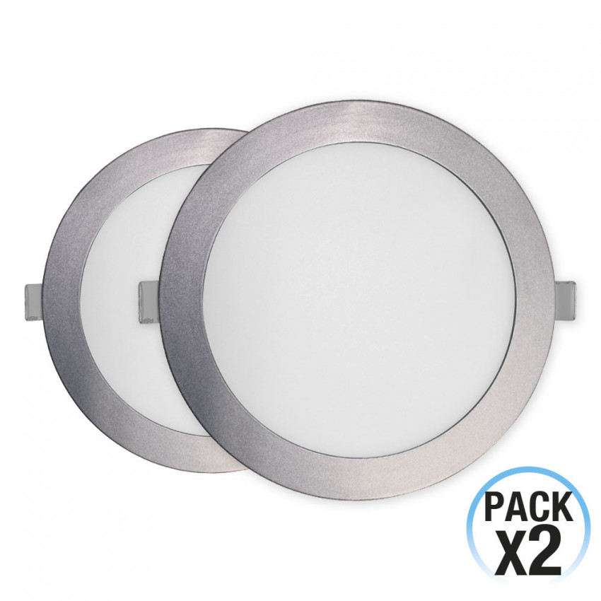 Pack 2 Downlight LED Ultraslim Empotrable Redondo 16W 1400lm Ø21cm 4000K Aluminio 1Primer Leader