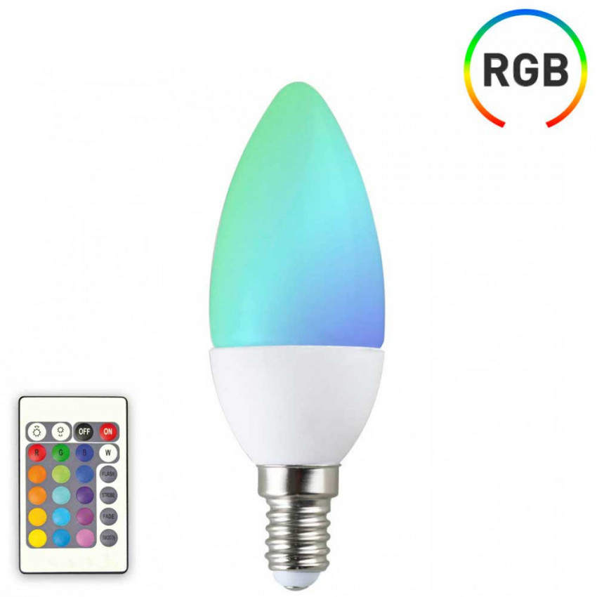 Bombilla LED Vela E14 6W Equi.40W 470lm RGB 25000H 7hSevenOn