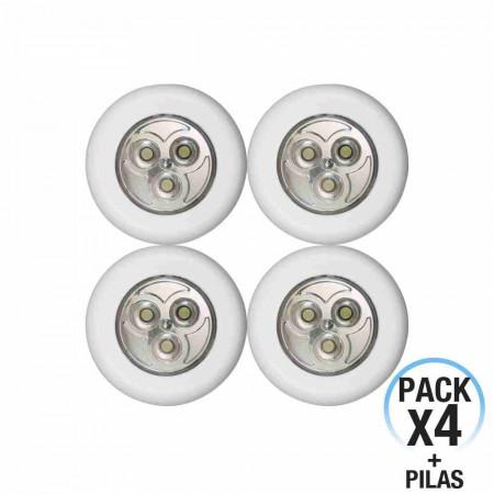 Pack 4 Pulsadores de Noche LED Redondos 7hSevenOn Elec