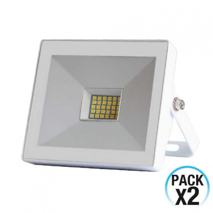 Pack 2 Proyectores LED 20W Ultraslim de Exterior Orientable Blanco 4000K 7hSevenOn Outdoor