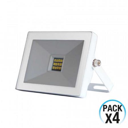 Pack 4 Proyectores LED 10W Ultraslim de Exterior Orientable Blanco 4000K 7hSevenOn Outdoor
