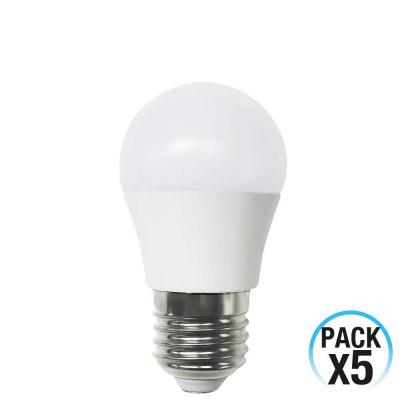 Pack 5 Bombillas LED Esférica E27 6W Equi.40W 470lm 3000K 15000H 1Primer Low Cost