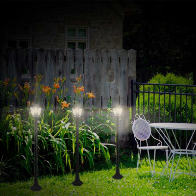 Farola de Jardín Moderna 1 Luz de Exterior IP44 Negro 7hSevenOn Outdoor