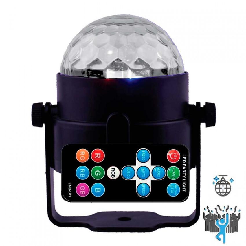 Lámpara LED RGB Decorativa Disco Party 5W con Soporte Orientable y Mando 7hSevenOn
