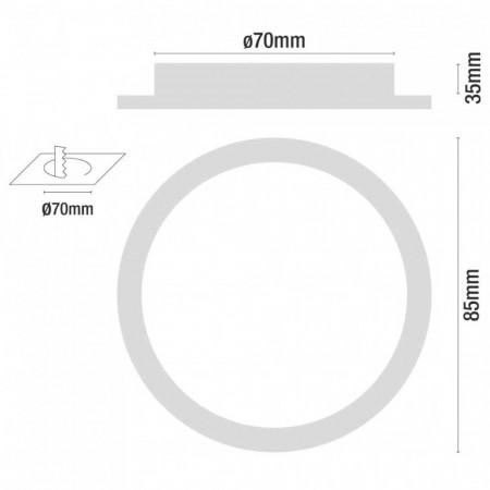 Mini Downlight LED Ultraslim Empotrable Redondo 4W 300lm Ø7cm 4000K Aluminio 7hSevenOn