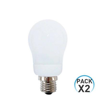 Pack 2 Bombillas CFL Bajo Consumo Esférica E27 7W 336lm 2700K Dayron