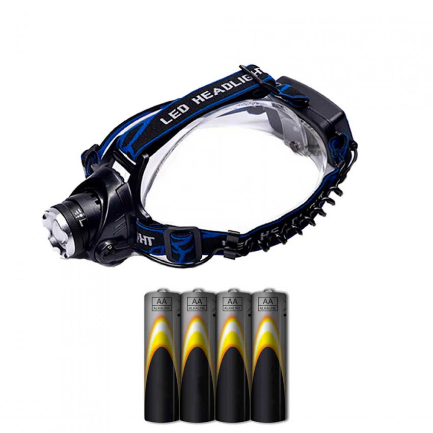 Linterna LED Frontal 3 posiciones 10W y 4 Pilas LR06-AA Incluidas 7hSevenOn Elec