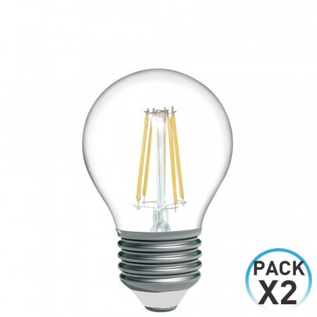 Pack 2 Bombillas LED Filamento Esférica E27 4W Equi.40W 470lm 2700K 15000H 1Primer Low Cost