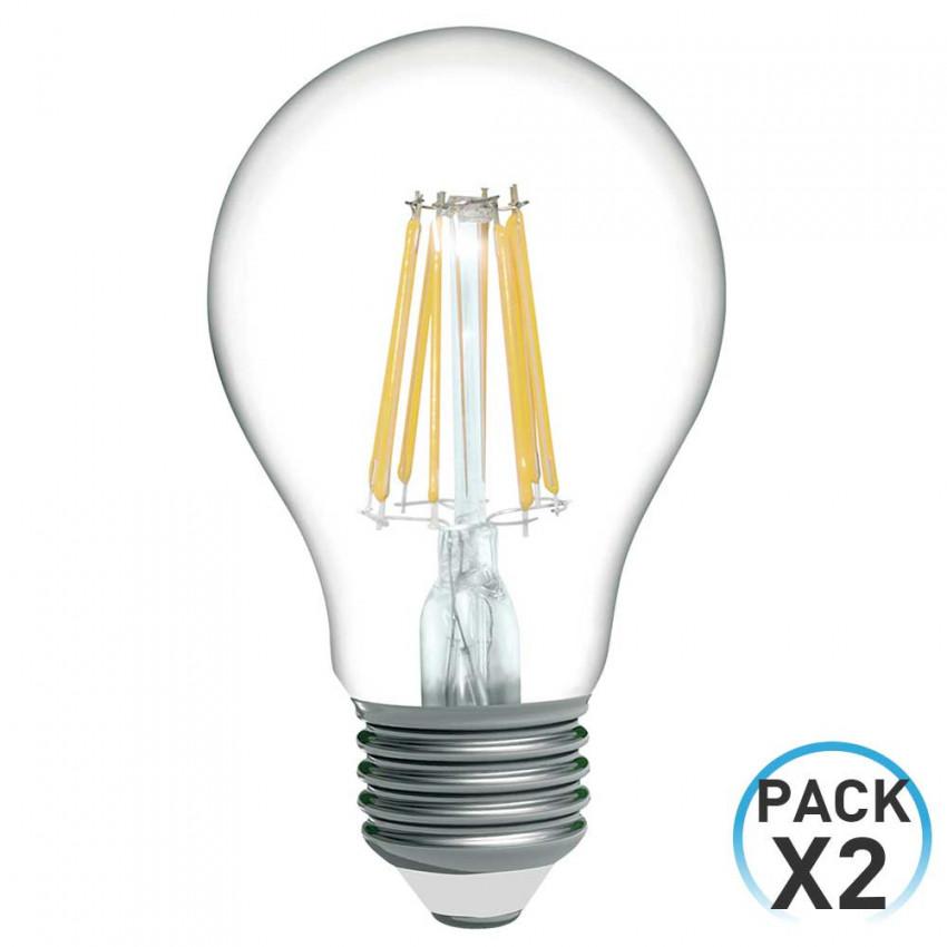 Pack 2 Bombillas LED Filamento Estándar E27 8W Equi.60W 806lm 2700K 15000H 1Primer Low Cost