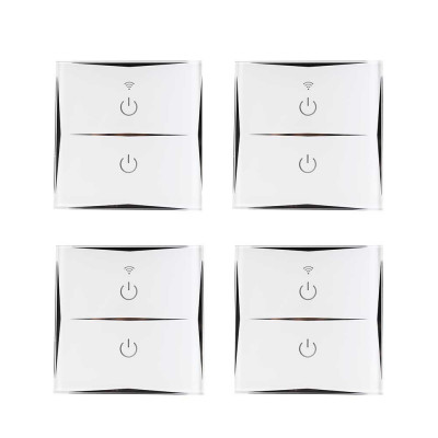 Pack 4 Interruptores Dobles WiFi de Pared vía Smartphone/APP 7hSevenOn Home
