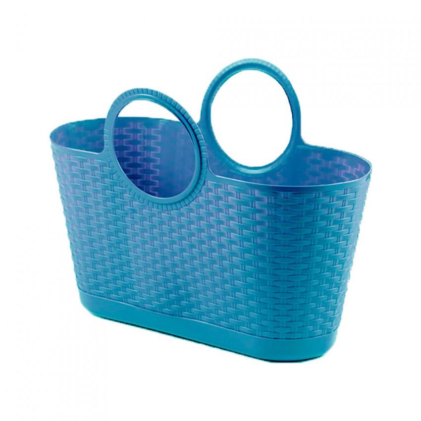 Bolso Capazo Bag Rattan Multiusos 28 Litros Azul