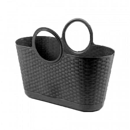 Bolso Capazo Bag Rattan Multiusos 28 Litros Negro Progarden