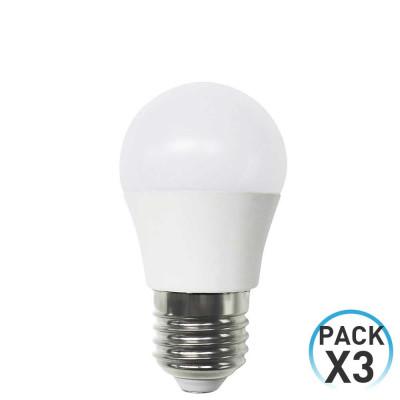 Pack 3 Bombillas LED Esférica E27 6W Equi.40W 470lm 3000K 15000H 7hSevenOn