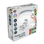 Plafón LED Superficie Redondo 24W 1700lm Ø30cm RGB Blanco con Altavoz Bluetooth 10W y Mando a Distancia Nine&One
