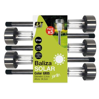 Pack 5 Balizas Solares LED Exterior Crepuscular Cromo Nine&One