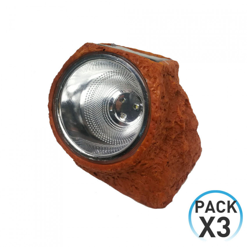 Pack 3 Lámpara Solar LED Crepuscular Piedra Marrón Nine&One