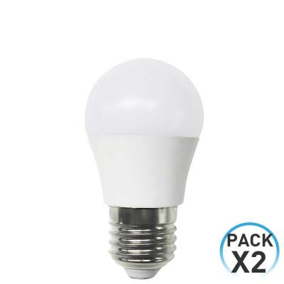 Pack 2 Bombillas LED Esférica E27 6W Equi.40W 470lm 3000K 15000H 7hSevenOn