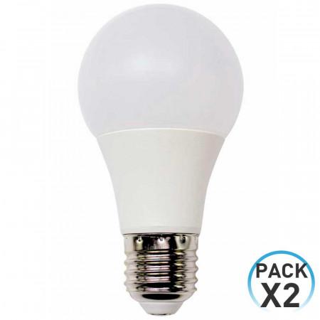 Pack 2 Bombillas LED Estándar E27 9W Equi.60W 806lm 3000K 10000H ECO 1Primer Low Cost