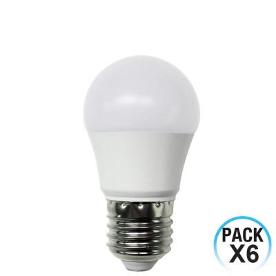 Pack 6 Bombillas LED Esférica E27 6W Equi.40W 470lm 15000H 1Primer Leader