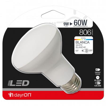 Bombilla LED Reflectora E27 9W Equi.60W 806lm 4000K 25000H 7hDayron