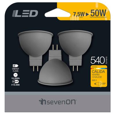 Pack 3 Bombillas LED Spotlight GU5.3 7,4W Equi.50W 540lm 15000H 7hSevenOn