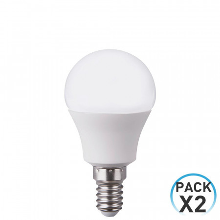 Pack 2 Bombillas LED Esférica E14 7,4W Equi.60W 806lm 25000H 7hDayron
