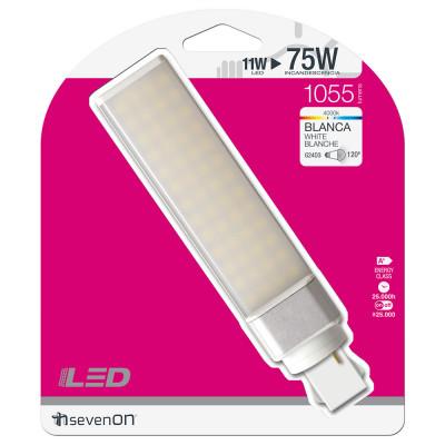 Bombilla LED Especial Downlight Bipin G24D3 11W Equi.75W 1055lm 25000H 7hSevenOn