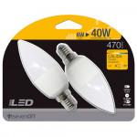 Pack 2 Bombillas LED Vela E14 6W Equi.40W 470lm 3000K 15000H 7hSevenOn