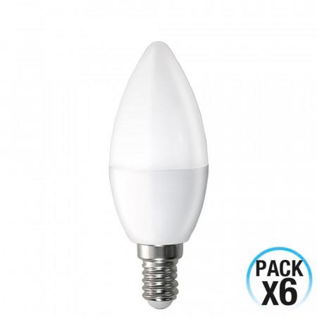 Pack 6 Bombillas LED Vela E14 6W Equi.40W 470lm 15000H 1Primer Leader