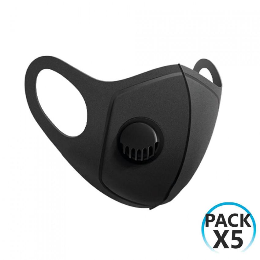 Pack 5 Mascarillas Reutilizables con Válvula Negro O91