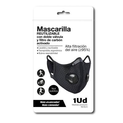 Mascarilla Reutilizable con Doble Válvula Negro O91