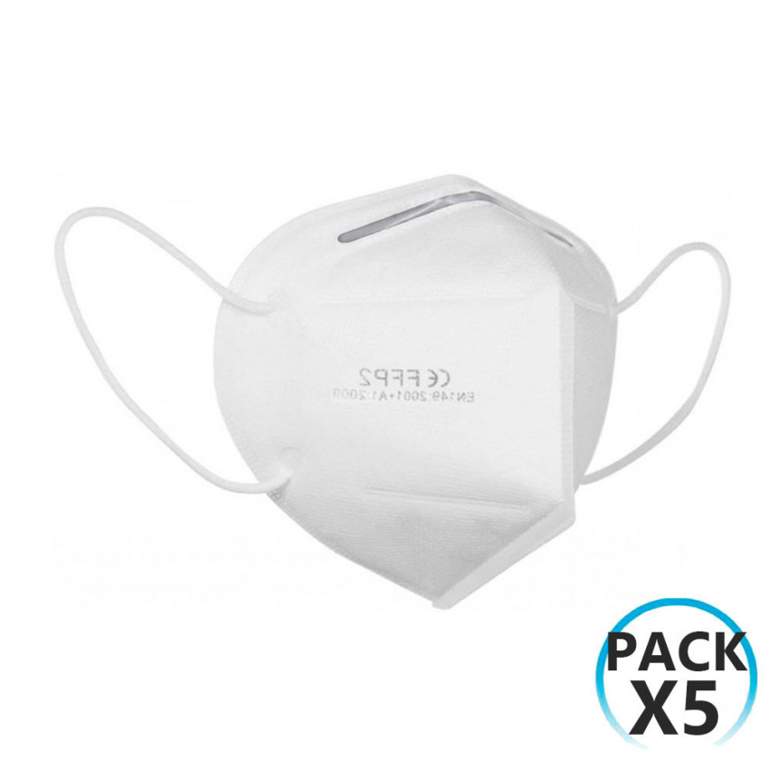 Pack 5 Mascarillas Reutilizables KN95 Blanco O91