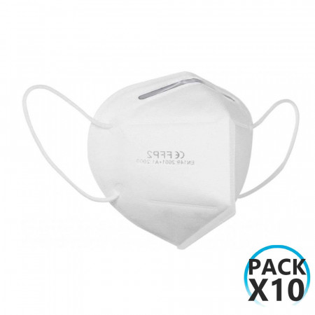 Pack 10 Mascarillas Reutilizables KN95 Blanco O91