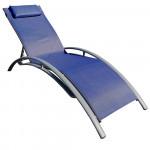 Tumbona Plegable Ajustable 5 Posiciones Textil Azul GH91