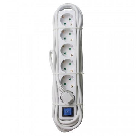 Regleta 6 Enchufes Schuko 1,5m Blanco con Interruptor Rojo 7hSevenOn Elec