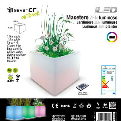 Macetero LED RGB Decorativo 40x40 cm con Mando Orientable Aluminio 7hSevenOn Outdoor