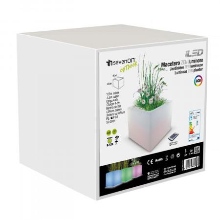 Macetero LED RGB Decorativo 40x40 cm con Mando Orientable Aluminio 7hSevenOn Outdoor
