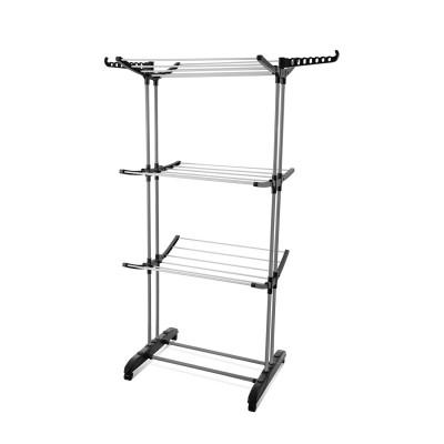 Tendedero Vertical Plegable Plata/Negro 76x64x168cm 7house
