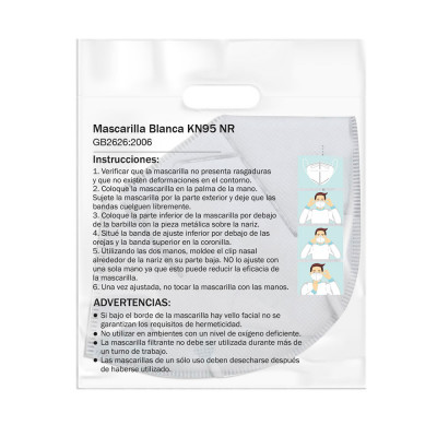 Pack 100 Mascarillas EPI FFP2 No Reutilizables KN95 Blanco O91