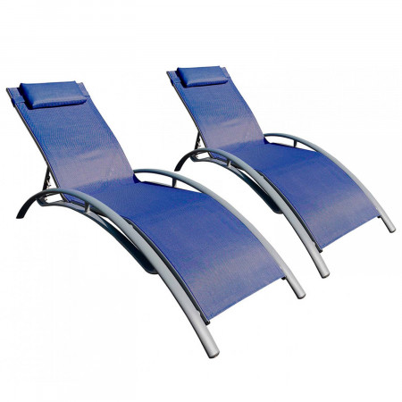 Pack 2 Tumbonas Plegables Ajustables 5 Posiciones Textil Azul GH91